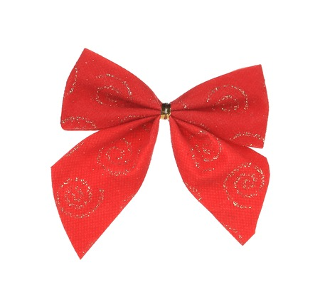Red bow made of ribbon. Isolated on a white background. photo