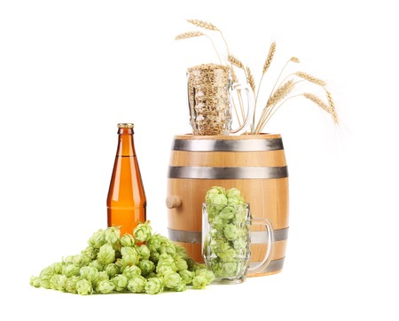 humulus: Barrel mug with hops and bottle of beer. Isolated on a white background. Stock Photo