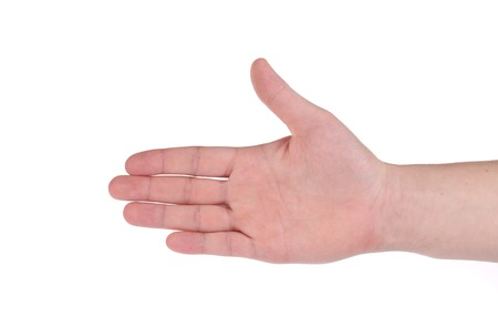 handbreadth: Outstretched hand. Isolated on a white background. Stock Photo