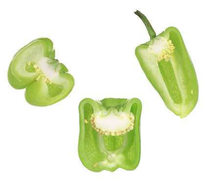 Sliced bell peppers. Isolated on a white background. photo