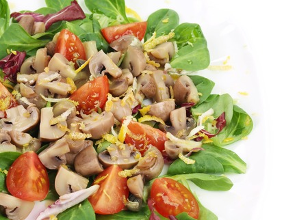 Mushroom salad with walnuts and tomatoes. Isolated on a white background. photo