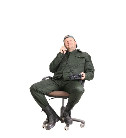 Worker talking on telephone  Isolated on a white background  photo