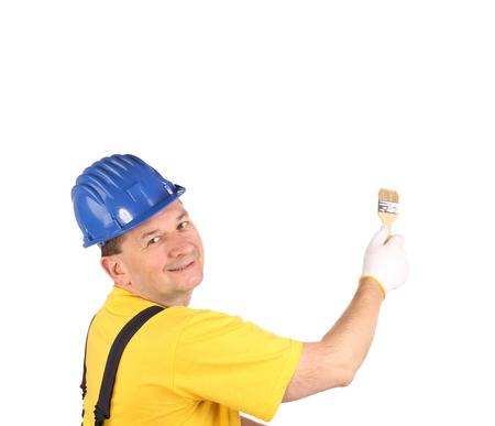 Worker with brush  Isolated on a white background  photo