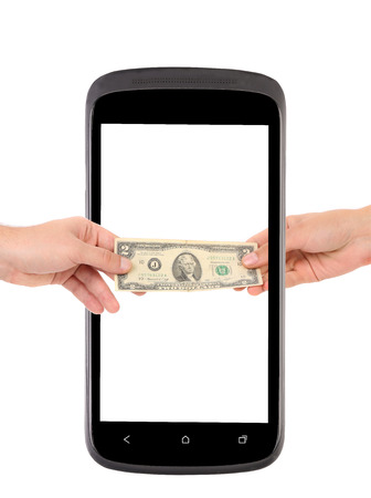 two dollar bill: Mobile phone and two dollar bill. Isolated on a white background. Stock Photo