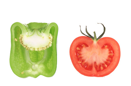Tomato with pepper. Isolated on a white background. photo