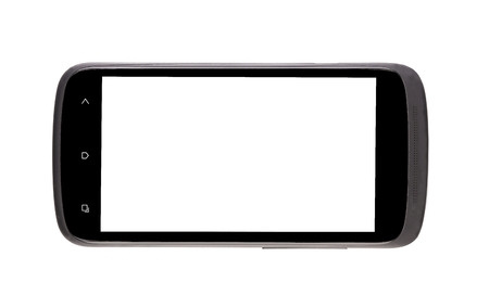 Cell phone with clipping path. Isolated on a white background. photo
