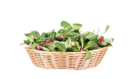 Spinach and radicchio rosso mix on wicker basket. Isolated on a white background. photo