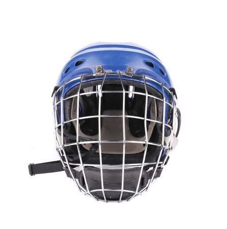 Blue hockey goalie mask. Isolated on a white background. photo