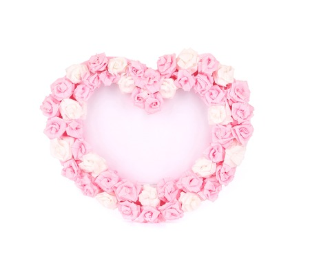 Valentines Day Heart Made of Roses. Isolated on a white background. photo