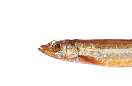 Close up of smoked fish. Isolated on a white background. photo