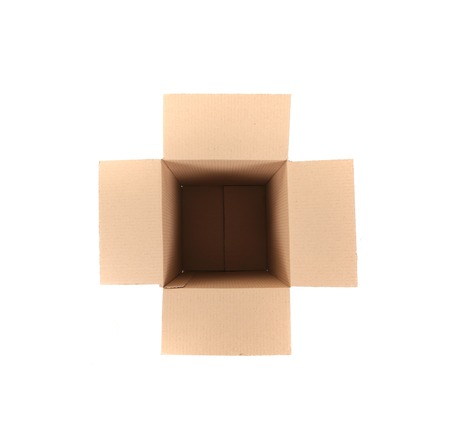 Brown cardboard box. Isolated on a white background. photo