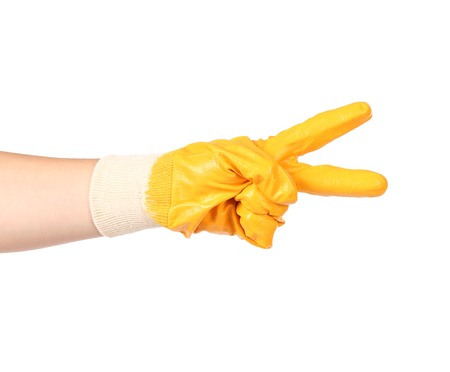 Hand in rubber glove showing two.  photo