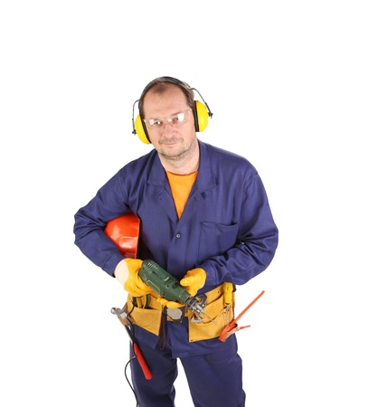 muff: Worker with electric drill.