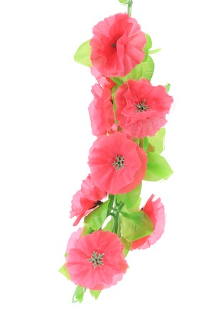 Pink artificial flowers. Isolated on a white background. photo