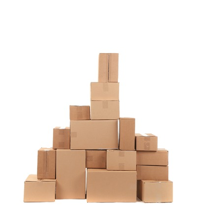 Stack of opened cardboard boxes. photo