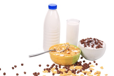 Healthy milk products with cereal. photo