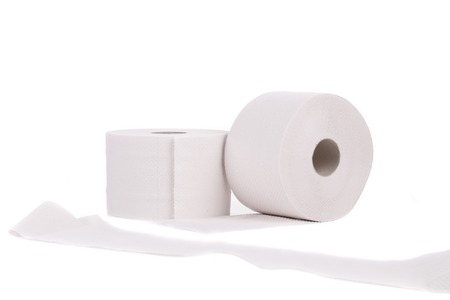 Toilet paper. Isolated on a white background. photo