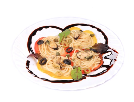 Seafood salad with spaghetti.  photo