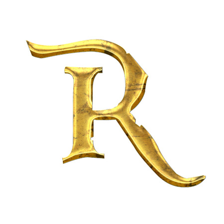 High quality old shining Letter R.  photo