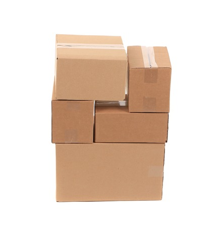 stockpiling: Stack of empty boxes. Isolated on a white background. Stock Photo