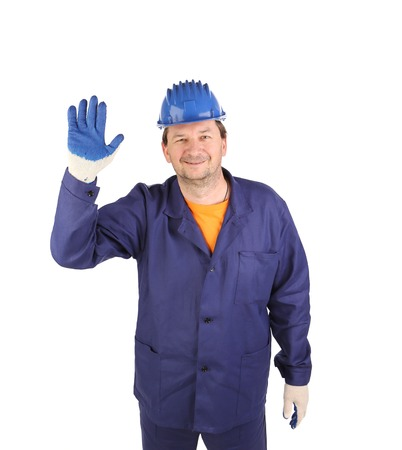Worker showing five in rubber glove.  photo