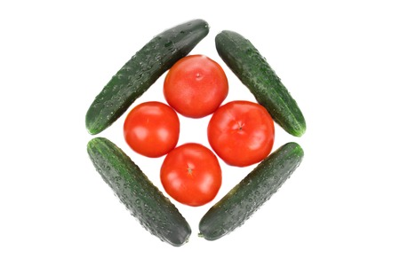 Composition from cucumber and tomato.  photo