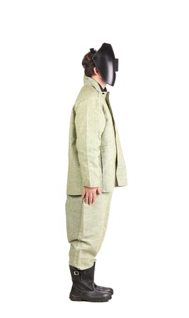 Welder in workwear suit with mask.