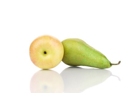 Beautiful ripe pear and apple. Isolated on a white background. photo