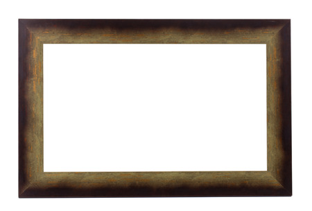 Brown wooden frame. Isolated on a white background. photo