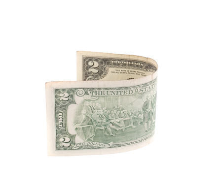 two dollar bill: Two dollar bill. Isolated on a white background. Stock Photo