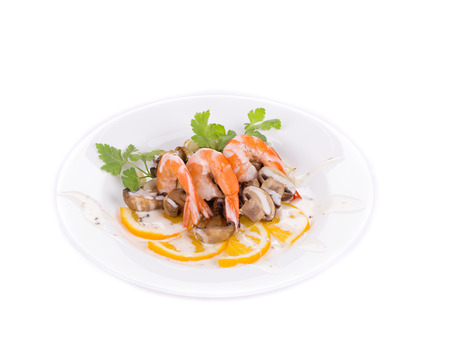 Shrimp salad with mushrooms. Isolated on a white background. photo
