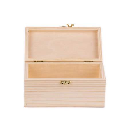 Wood box empty. Isolated on a white background. photo