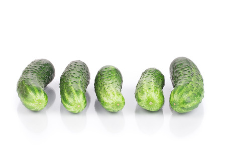 Close up of fresh cucumber. Isolated on a white background. photo