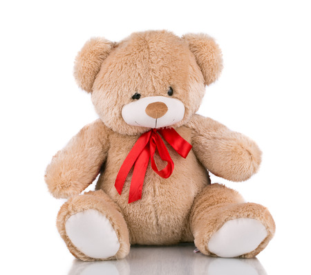 cute teddy bear: Close up of teddy bear. Isolated on a white background.
