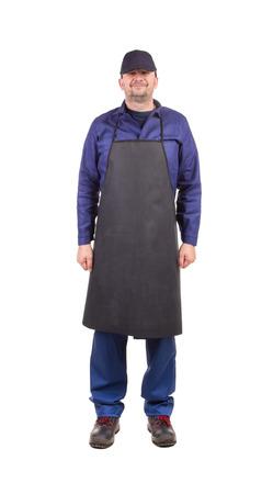 collarin: Trabajador con delantal negro. Aislado en un fondo blanco.
