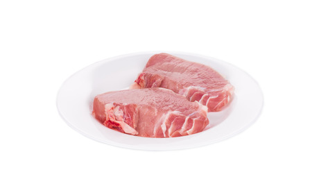 Two pieces of raw meat in plate. Isolated on a white background. photo