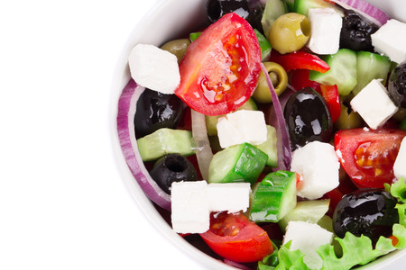 Close up of greek salad. Whole background. photo