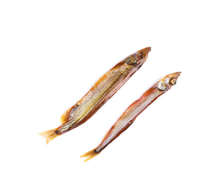 Smoked two fishes. Isolated on a white background. photo