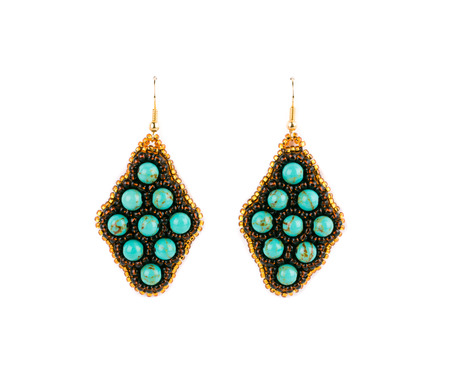 Earrings from beads. Isolated on a white background. photo