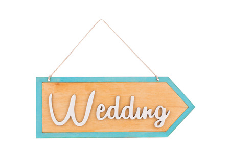 reliably: Plaque with the inscription Wedding. Isolated on a white background.