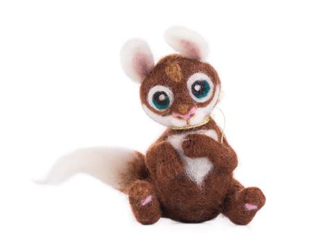 squirrel isolated: Ardilla de juguete suave. Aislado en un fondo blanco. Foto de archivo