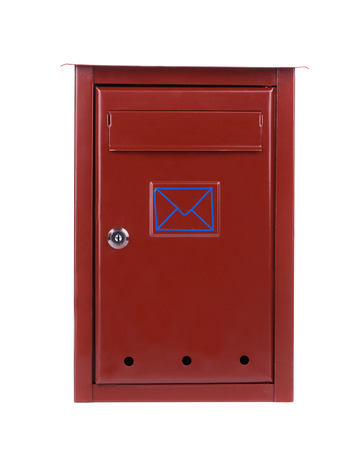 Red metal mailbox. Isolated on a white background. photo