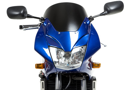 Top side of powerful motorcycle. Isolated on a white background.