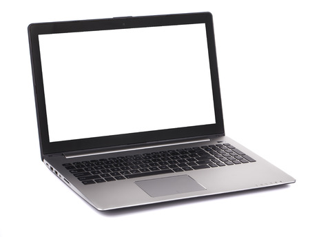 Laptop with white blank screen. Isolated on a white background. photo