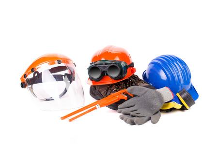 Various working equipment close up. Isolated on a white background. photo