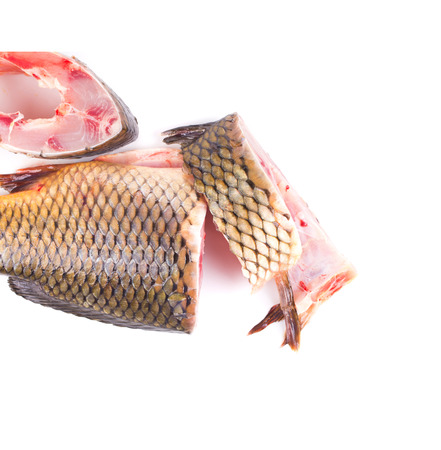Fillet and tail of fresh raw fish carp. Isolated on a white background. photo
