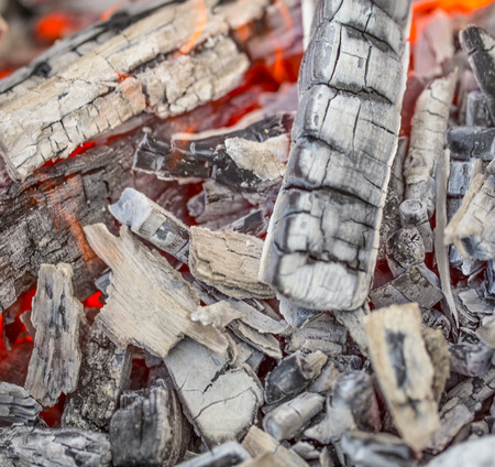 Close up of wooden embers. Whole background. photo