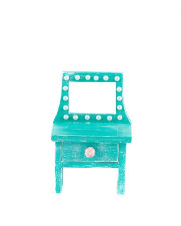 bureau: Handmade blue toy bureau. Isolated on a white background.