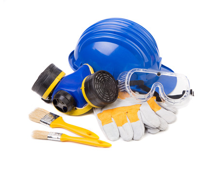 Hard hat and protective goggles. Isolated on a white background.
