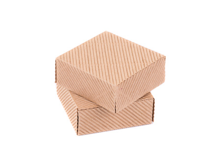 stockpiling: Stack of closed boxes. Isolated on a white background.